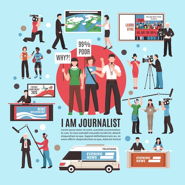 Journalist profession composition Free Vector