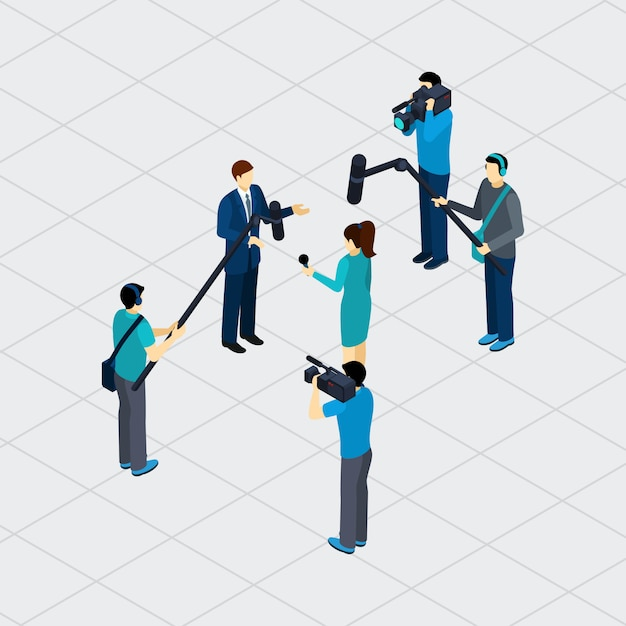 Journalist Profession Teamwork Isometric\ Banner