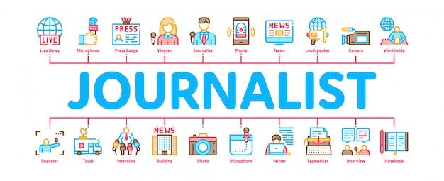 Journalist reporter minimal infographic banner Premium Vector