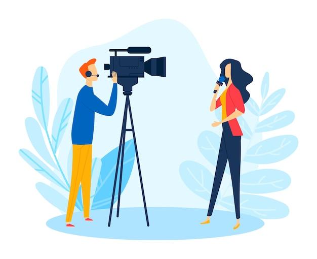 カメラの近くのジャーナリストレポーター、テレビのニュースメディアはマイクのイラストを使用します。カメラマンはビデオを記録し、漫画のジャーナリズムにおける女性のプロの記者特派員を記録します。 Premiumベクター