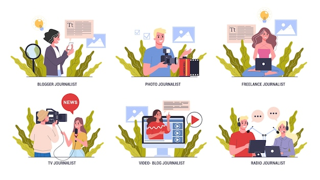 Journalist set. mass media profession. tv reporter with microphone. photo and radio journalism.  illustration Premium Vector