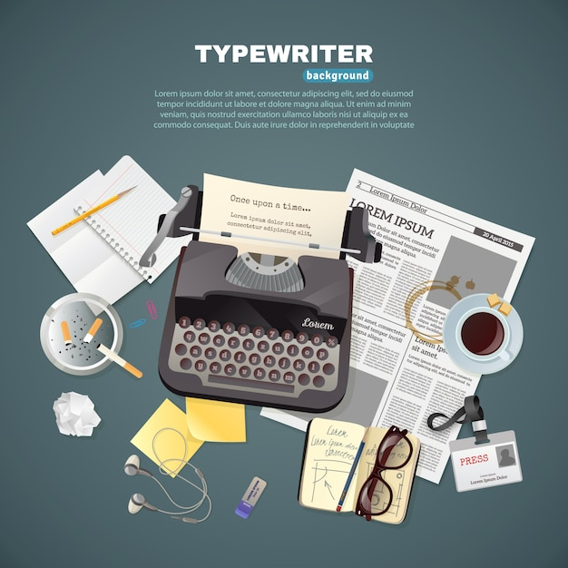 Journalist typewriter background Free Vector