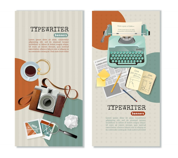Journalist typewriter vertical banners Free Vector