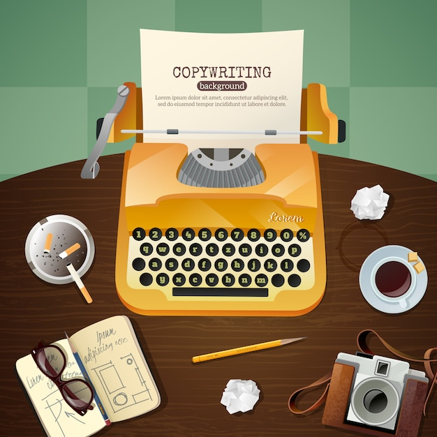 Journalist vintage typewriter illustration Free Vector
