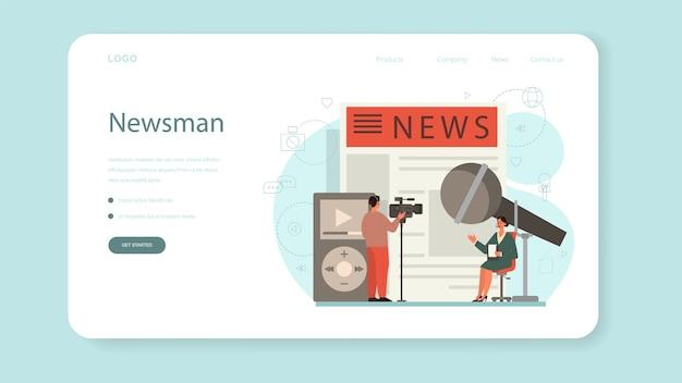 Журналистский веб-баннер или целевая страница. тележурналист с Premium векторы
