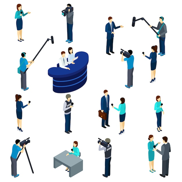 Journalist work isometric icons set Free Vector
