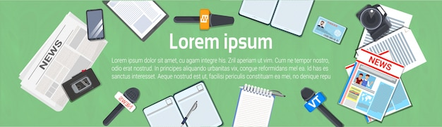 Journalist workplace concept horizontal banner top view of newspaper, microphone, tape recorder Premium Vector