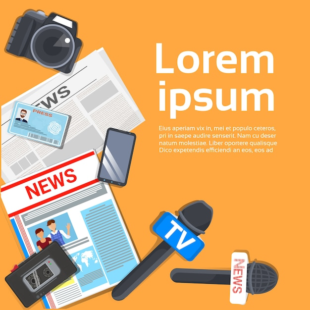 Journalist workplace concept top view of newspaper, microphone, tape recorder Premium Vector