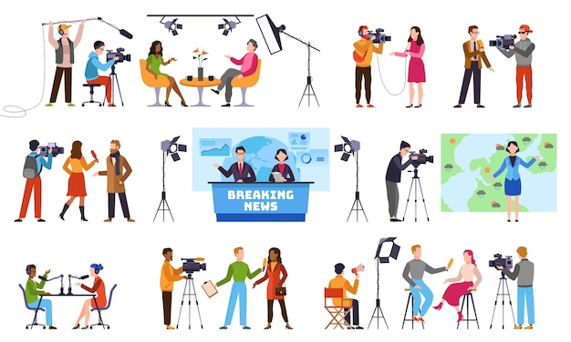 Journalists. newscaster and journalist profession, media record. television industry. press interview with cameraman talking to camera characters Premium Vector