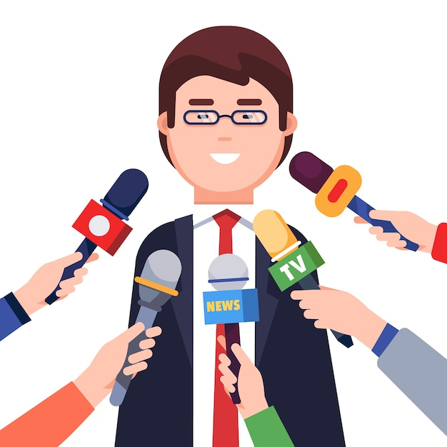 Journalists taking interview from a politician Free Vector