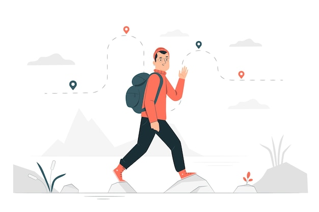 Journey concept illustration Free Vector