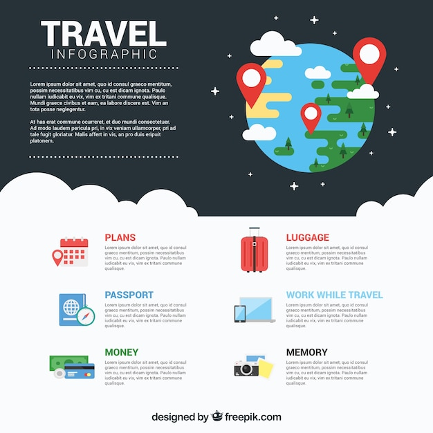 Journey infography with earth drawing Free Vector