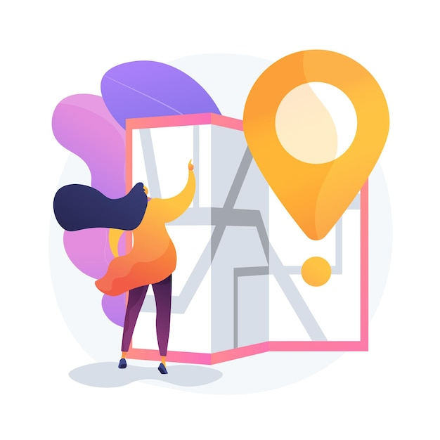 Journey route planning. city travel, urban tourism, cartography idea. girl navigating with paper map cartoon character. old fashioned orientation tool. Free Vector