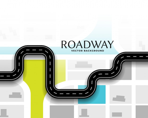 Journey route road map background Free Vector