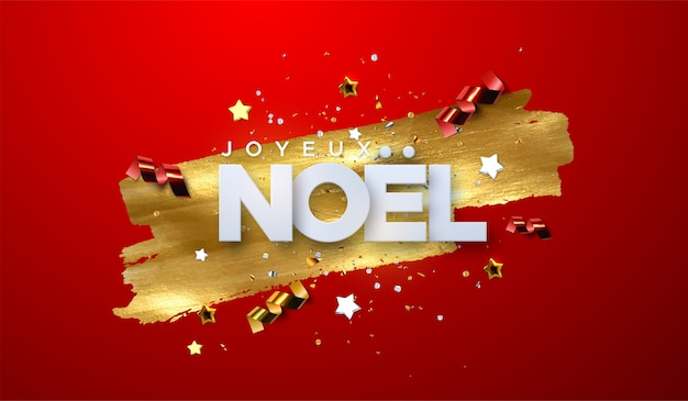 Joyeux noel. merry christmas. typography illustration. holiday decoration of white paper letters, sparkling confetti, streamers, stars on golden paint stain background. Premium Vector
