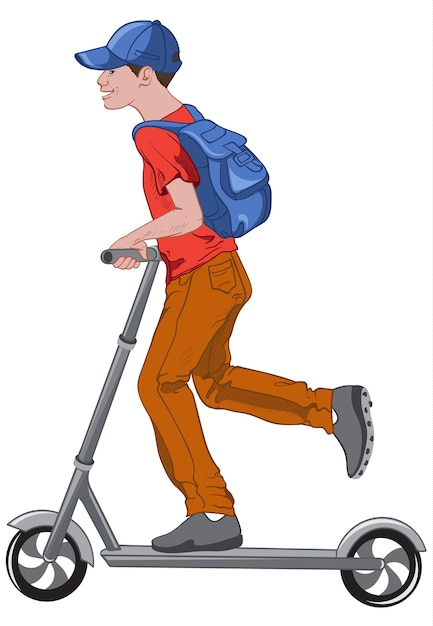 Joyful boy riding a kick scooter Free Vector