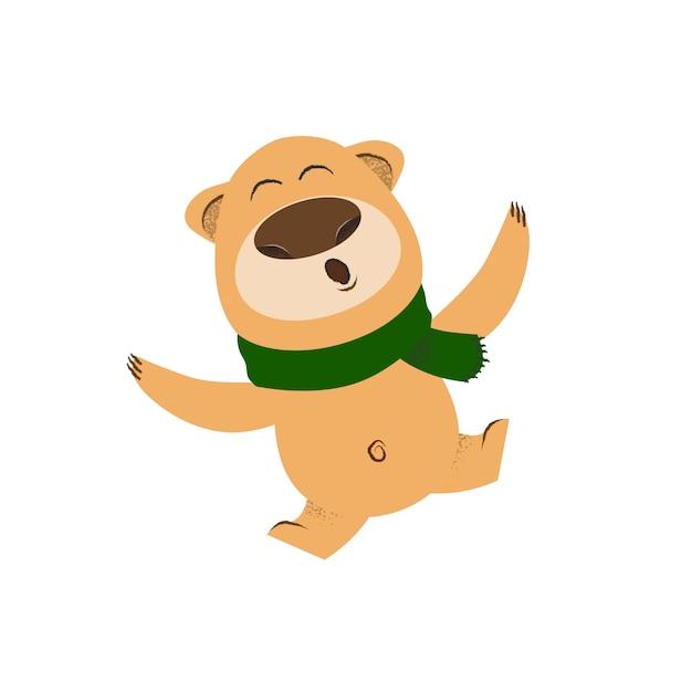 Joyful cartoon bear in green scarf dancing Free Vector