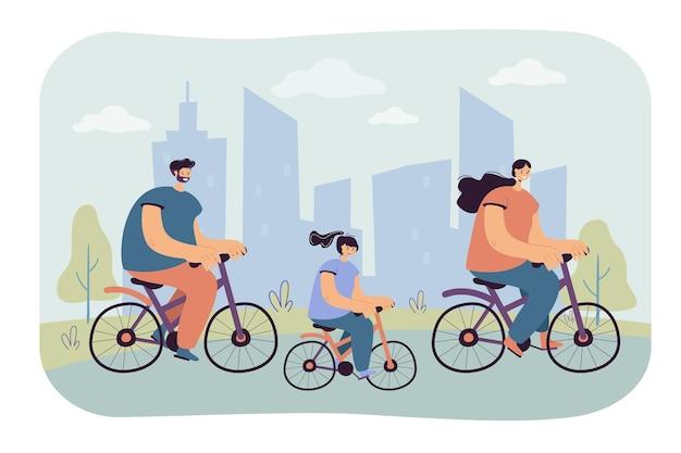 Joyful family riding bikes in city park isolated flat  illustration. cartoon illustration Free Vector