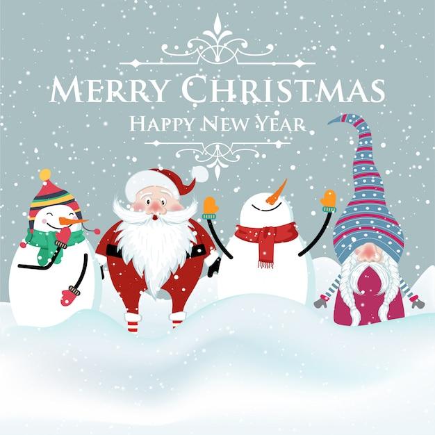 Joyful flat design christmas card with snowman , santa and gnome. christmas. Premium Vector
