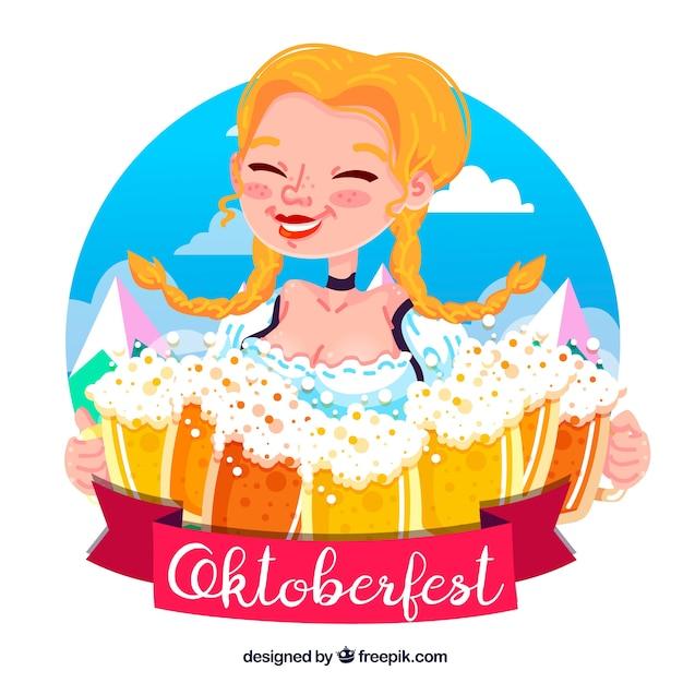 Joyful german woman with too many beer mugs