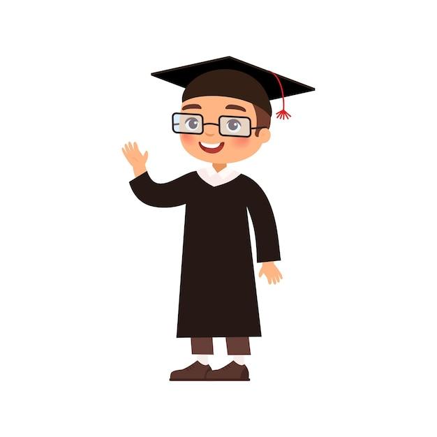 졸업 의류 가운 및 모자 그림에서 즐거운 졸업 무료 벡터