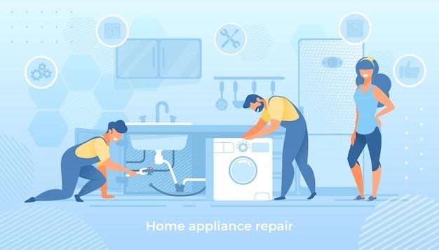 Joyful men characters fixing broken home technics illustration Premium Vector
