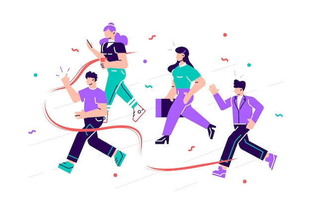 Joyful office workers or clerks crossing finish line and tearing red ribbon. concept of people taking part in professional competition, rivalry at work. modern flat style cartoon  illustration Premium Vector