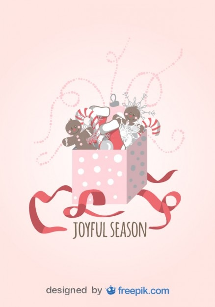 Joyful season Greeting Card of Gift opened with\ Candy Canes, Christmas Socks and dolls