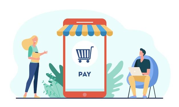 Piccoli clienti gioiosi che pagano nel negozio online Vettore gratuito