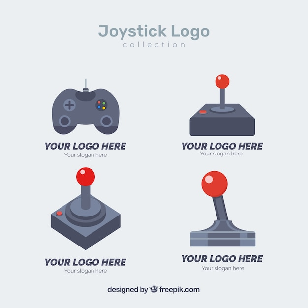 Joystick logo collection with flat design Vector | Free Download