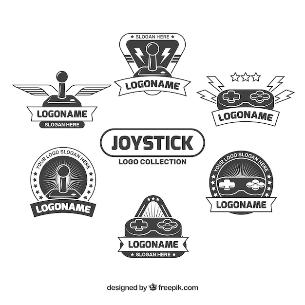 Joystick logos collection in flat style Free Vector