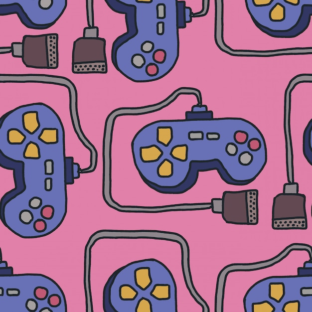 Joystick pattern. retro gamepad background. video games controller ornament Premium Vector