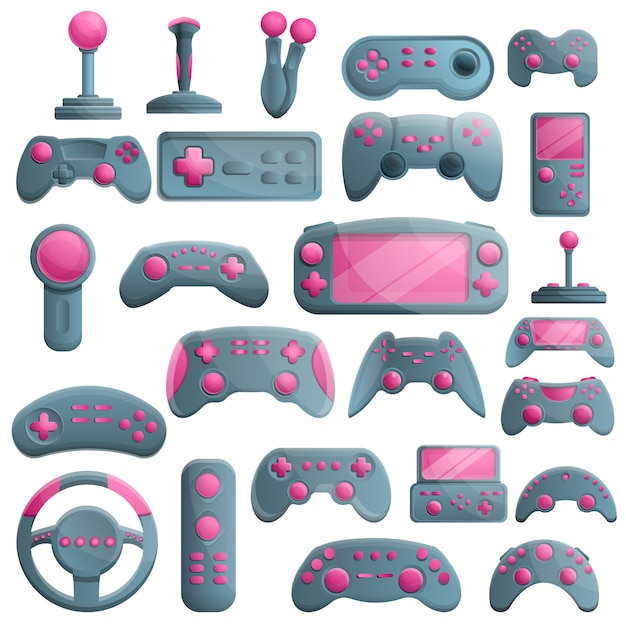 Joystick set, cartoon style Premium Vector