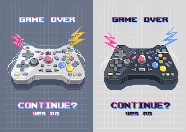 Джойстик с множеством кнопок, иллюстрация искусства геймпада. современный плакат для печати и интернета. Premium векторы