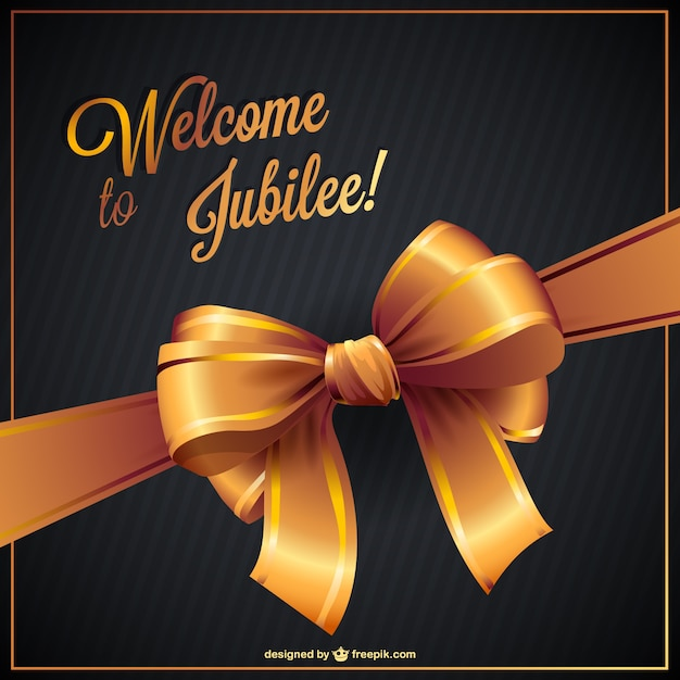 Jubilee card with golden ribbon vector free download jubilee card with golden ribbon free vector yadclub Image collections