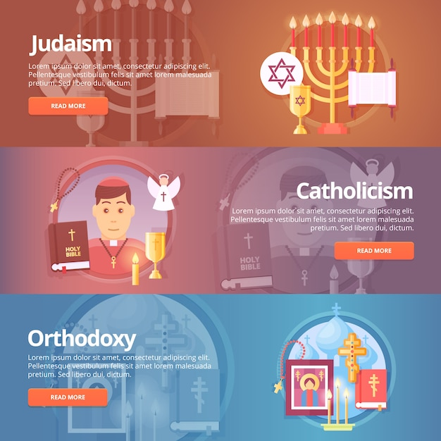 Judaism. catholicism. orthodoxy. christianic religions. religion and confessions banners set.   concept. Premium Vector
