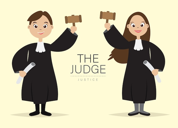Judge Cartoon Character with Hold the hammer for Judge ...