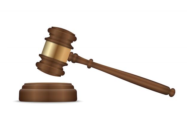 Judge gavel and soundboard Premium Vector