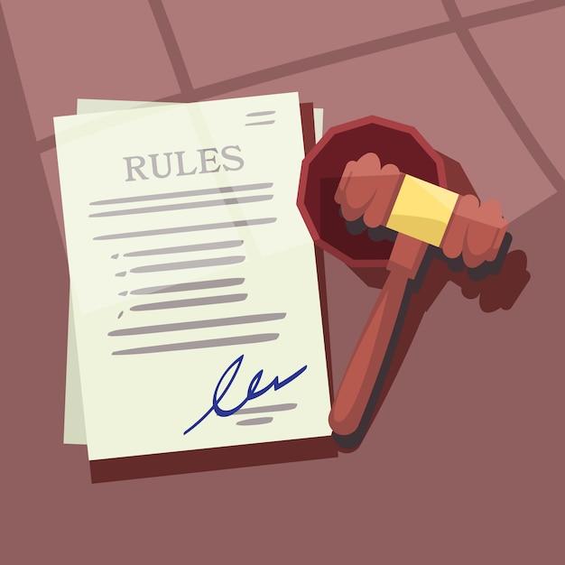 Судья молоток с правилами или законами бумажной иллюстрации Premium векторы