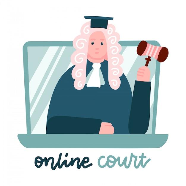 ノートパソコンの画面のかつらで裁判官。コンピューターオンライン法的手続き。法律コンサルティング、オンライン法的支援。ロックダウンホームオフィス、リモートジョブ。フラットのベクターイラストです。 Premiumベクター