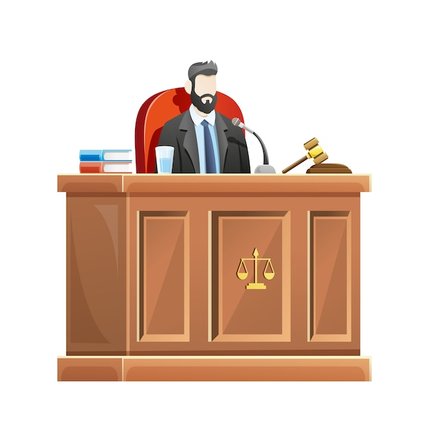 Judge sitting behind the desk court in courthouse Premium Vector