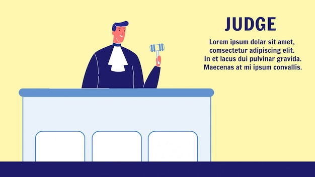 Judge vector web banner template with text space Premium Vector