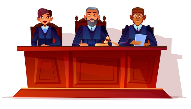 Judges at court hearing illustration. prosecutor and legal secretary woman or assessor Free Vector