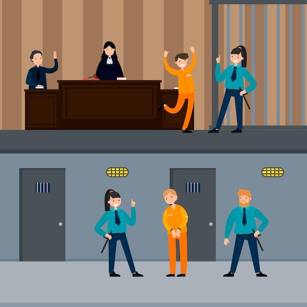 司法制度の横バナー 無料ベクター