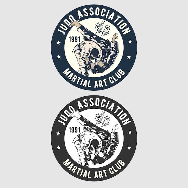 Judo badge logo Premium Vector