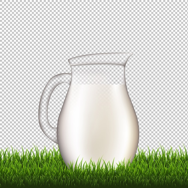 Кувшин с прозрачным фоном границы травы с градиентной сеткой, иллюстрация Premium векторы