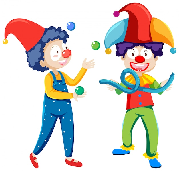 Juggling clowns cartoon character isolated on white background Free Vector