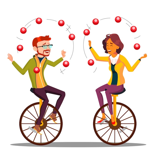 Juggling people . business man, woman juggling on unicycle. Premium Vector