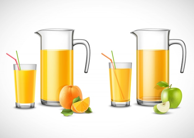 Jugs with apple and orange juice Free Vector