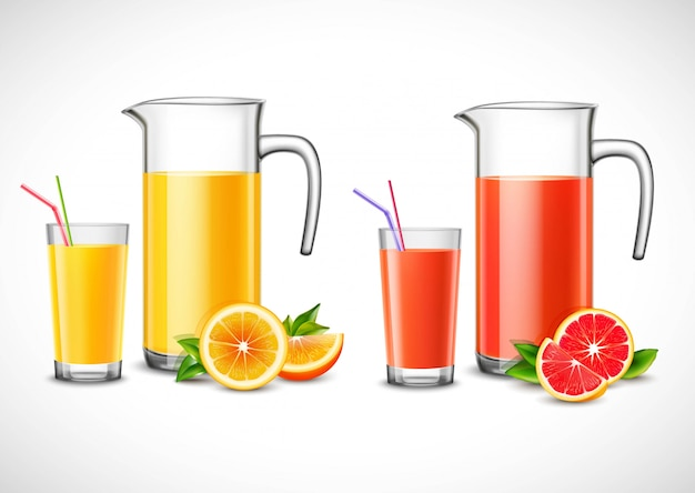 Jugs with citrus juice illustration Free Vector